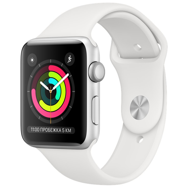 Apple Watch Series 3 42mm GPS Silver Aluminum Case with White Sport Band