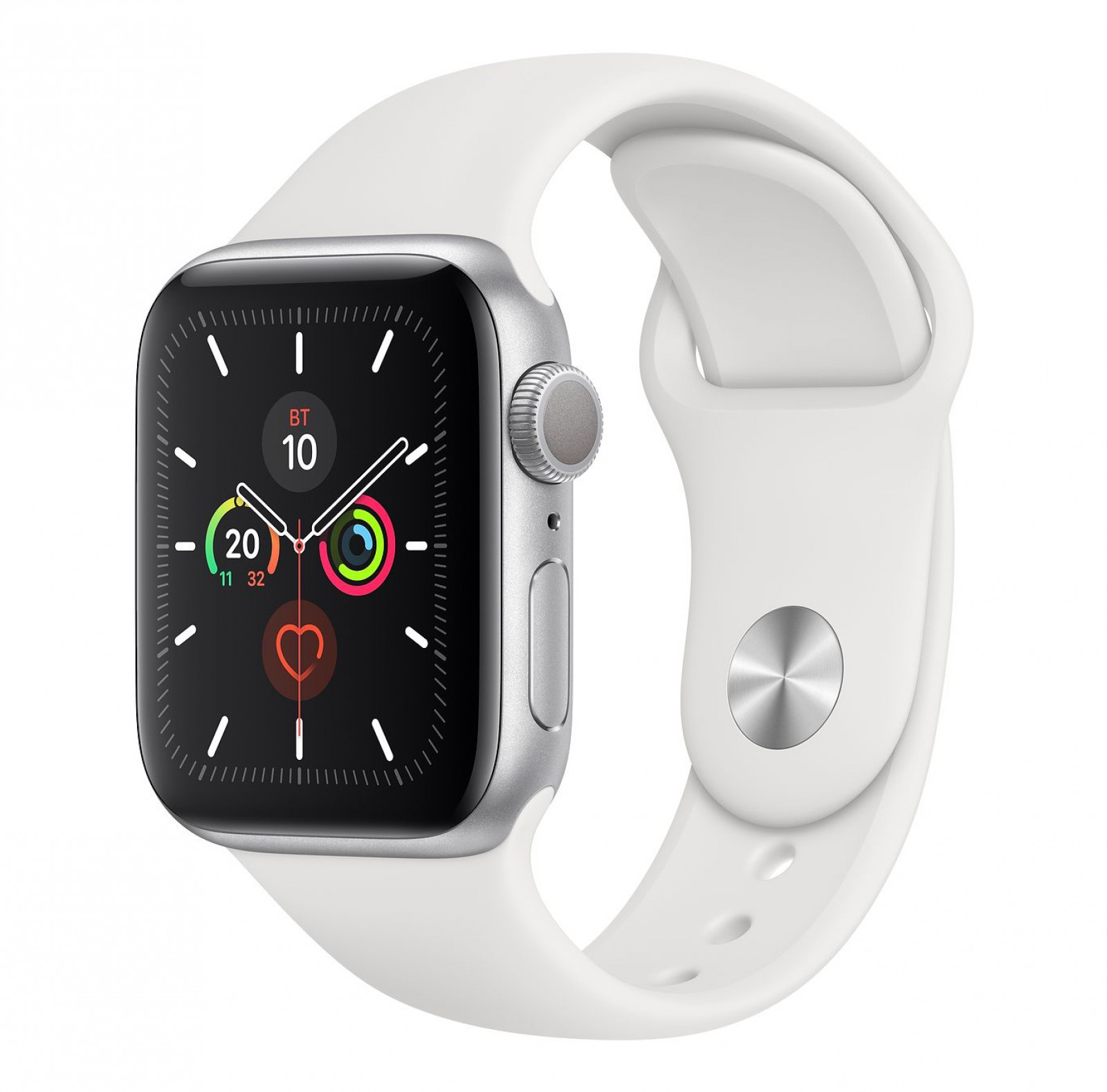 Apple Watch Series 5 40mm GPS Silver Aluminum Case with White Sport Band