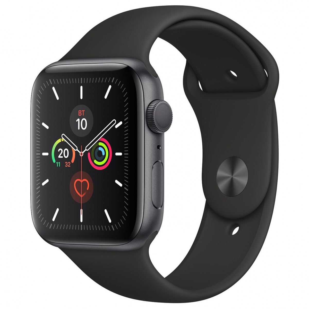 Apple Watch Series 5 44mm GPS Space Gray Aluminum Case with Black Sport Band