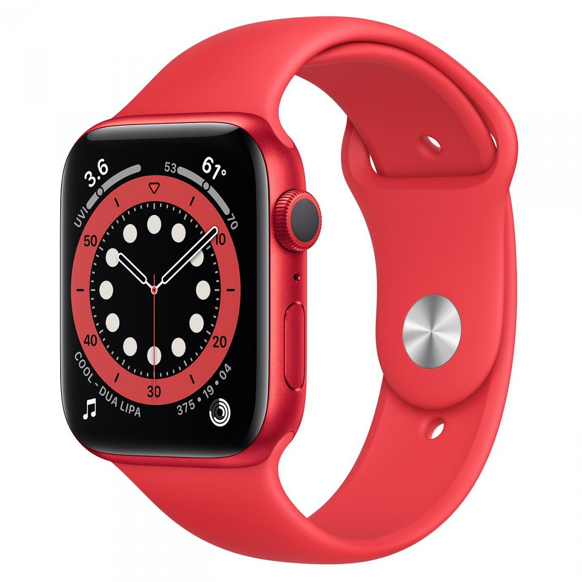 Apple Watch Series 6 44mm GPS Red Aluminium Case with Red Sport Band